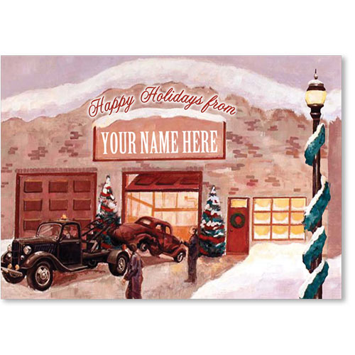 Double Personalized Full-Color Automotive Holiday Postcards - Reminisce