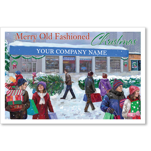 Double Personalized Full Color Holiday Postcard - Christmas Scene