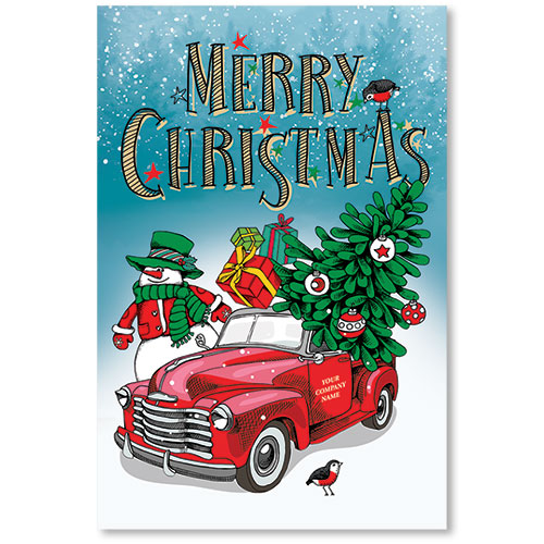 Double Personalized Full-Color Automotive Holiday Postcards - Christmas Snowman