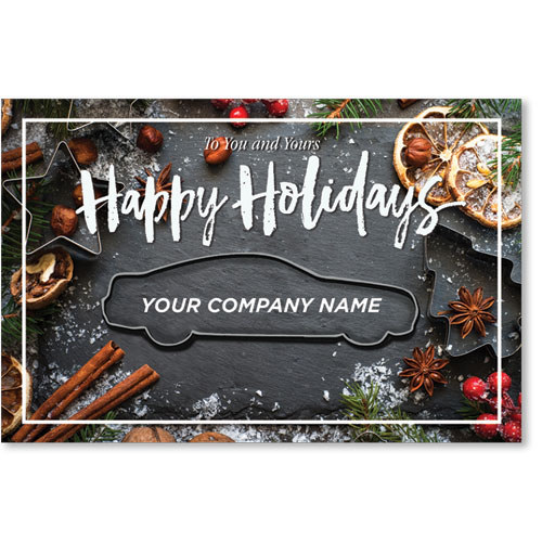 Double Personalized Full Color Holiday Postcard - Cinnamon and Spice