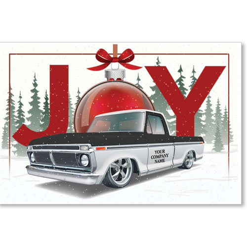 Double Personalized Full Color Holiday Postcard - Joyful Ornament