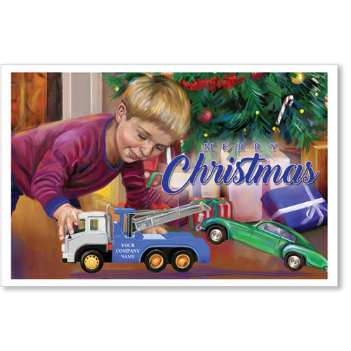 Double Personalized Full Color Holiday Postcard - Towing Gift