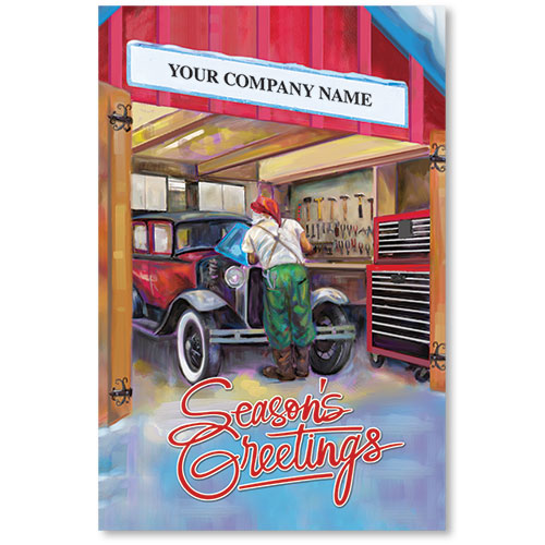 Double Personalized Full Color Holiday Postcard - Santa's Repair