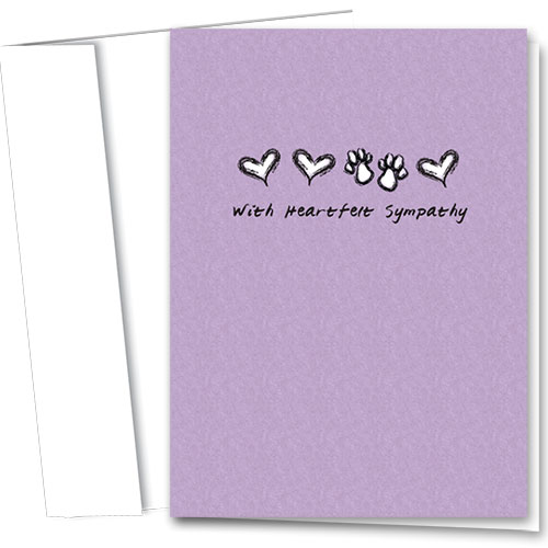 Pet Sympathy Cards - Hearts & Paws