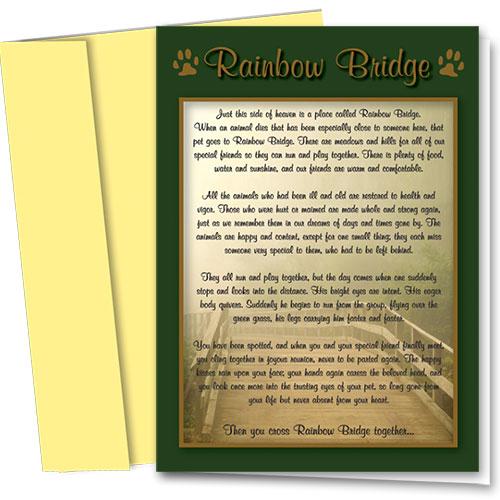 Pet Sympathy Cards - Rainbow Bridge