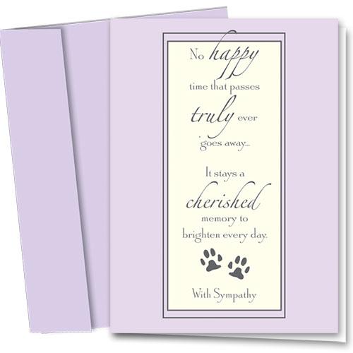Pet Sympathy Cards - Cherished Pet