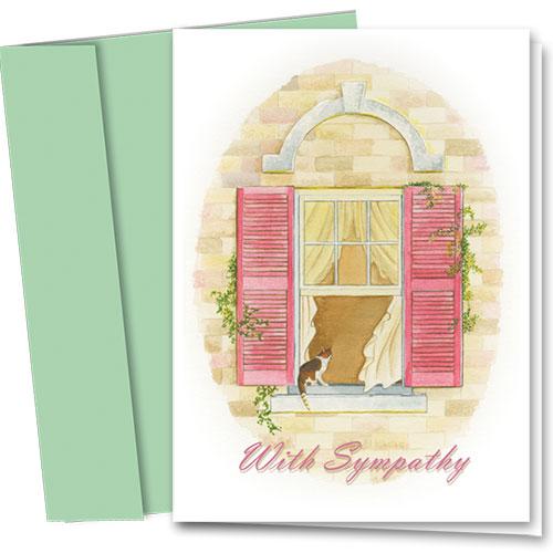 Cat Sympathy Cards - Window Sill
