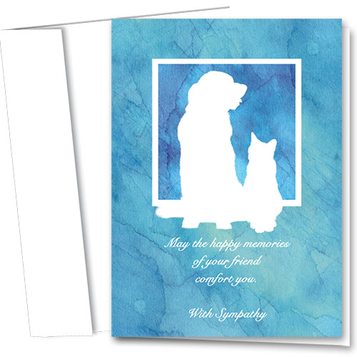 Pet Sympathy Cards - Watercolor Blues