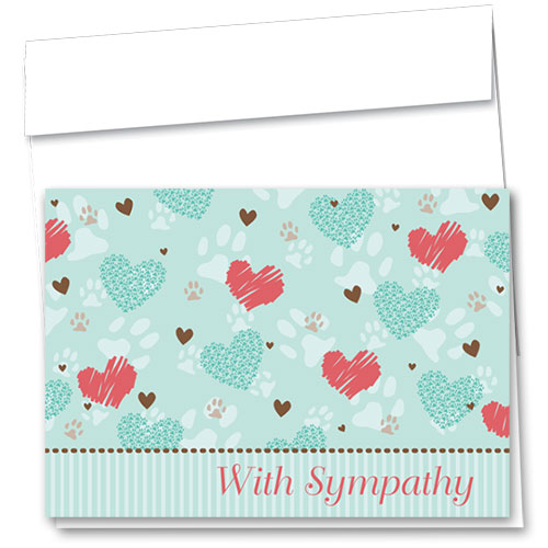 Pet Sympathy Cards - Heart Prints