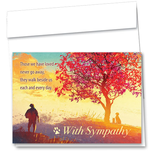 Pet Sympathy Cards - Red Leaves