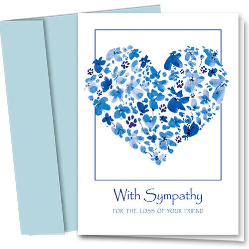 Pet Sympathy Cards - Blue Floral