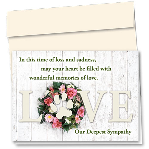 Pet Sympathy Cards - Rose Wreath