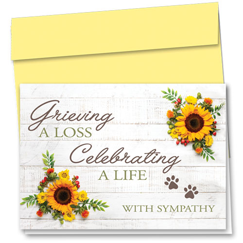 Pet Sympathy Cards - Sunflower Sympathy