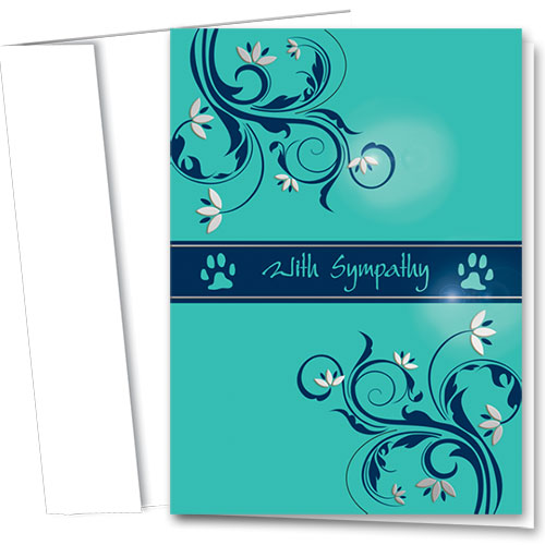 Premium Foil Pet Sympathy Cards - Tender Teal