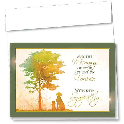 Premium Foil Pet Sympathy Cards - Golden Memory