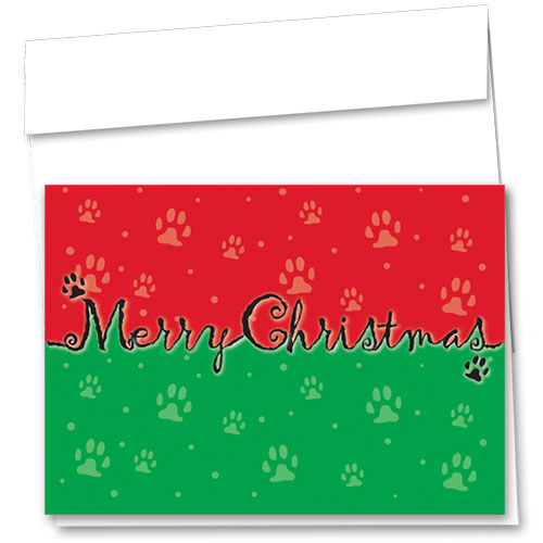 Veterinary Holiday Cards - Merry Christmas Paws