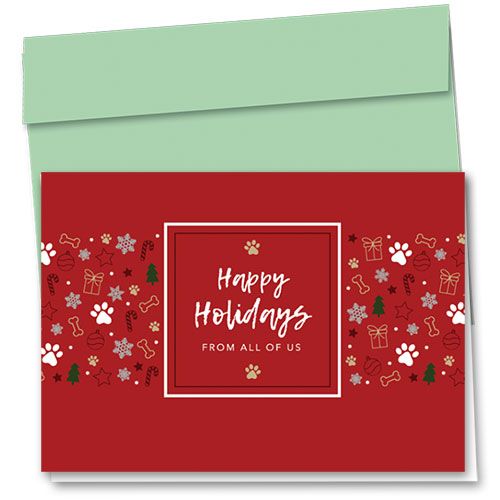 Veterinary Holiday Cards - White Paws