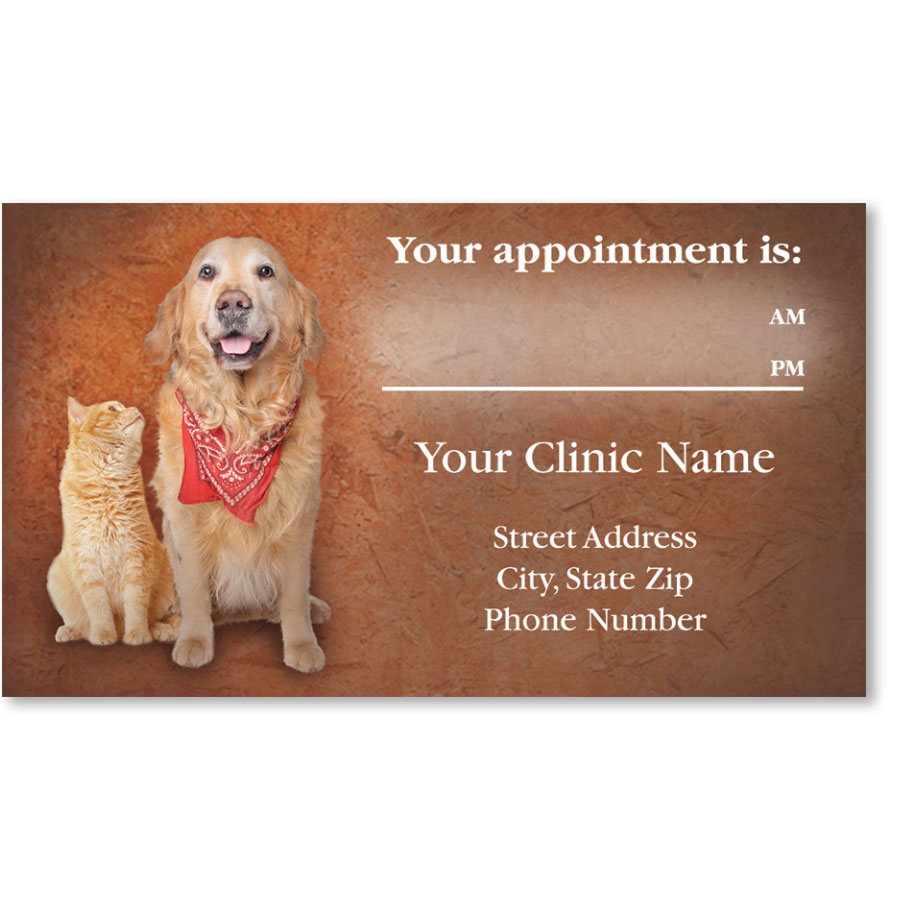 Full-Color Veterinary Appointment Cards - Bandana Buddies