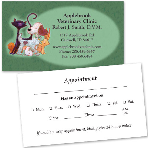 Veterinary Business Cards w/ Appointment - Furry Friends