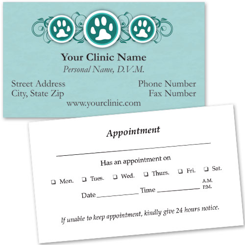 Veterinary Business Cards w/ Appointment - Three Paws