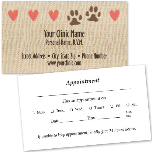 Veterinary Business Cards w/ Appointment - Tiny Hearts