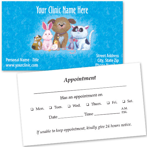Veterinary Business Cards w/ Appointment - Critter Print