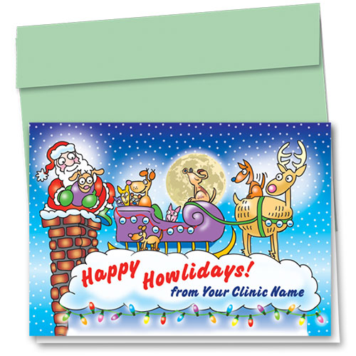 Veterinary Holiday Cards - Up on the Roof Top