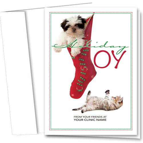 Veterinary Holiday Cards - Joyful Stocking