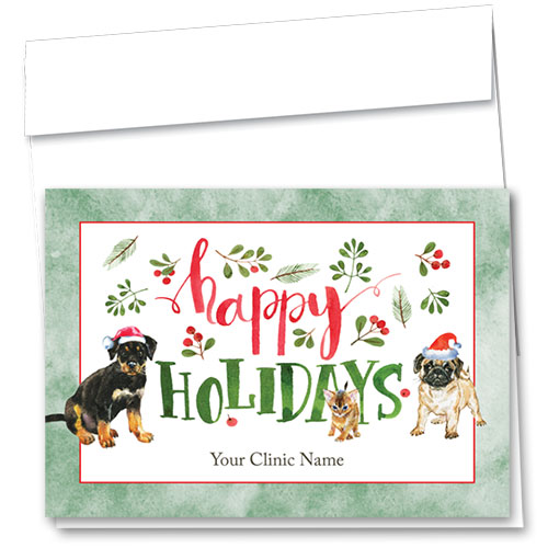 Veterinary Holiday Cards - Painted Pine