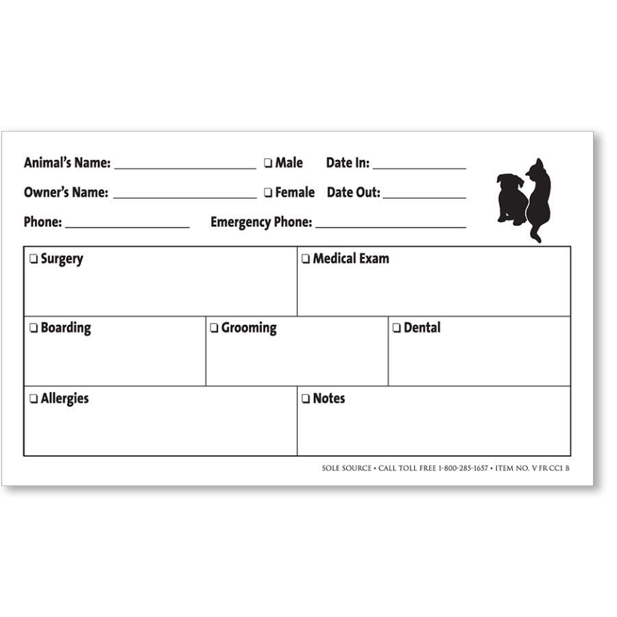 """Veterinary Cage Cards 4"""" x 6"""" - Style B"""