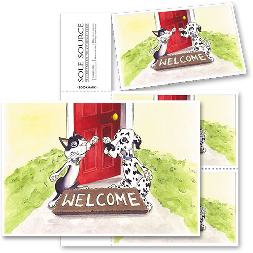 3-Up Veterinary Postcards - Open Door