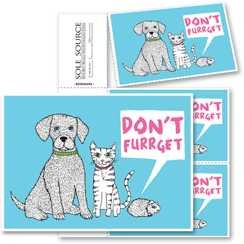 3-Up Veterinary Postcards - Don't Furrget