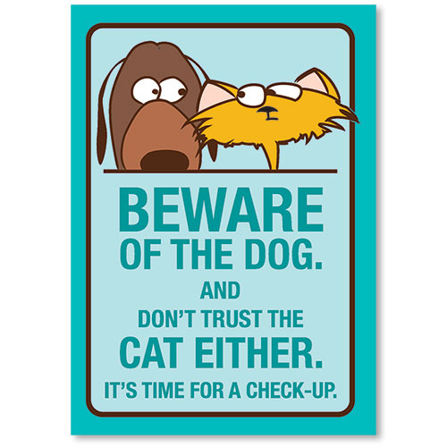 Standard Veterinary Reminder Postcards - Beware of Dog