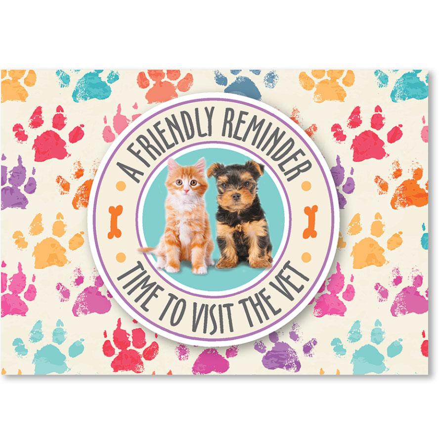 Standard Veterinary Reminder Postcards - Pet Circle