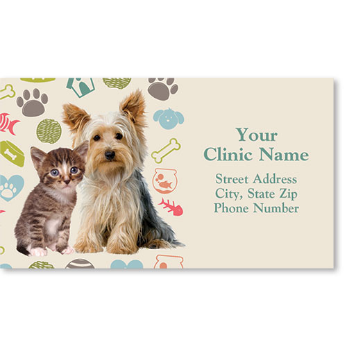 Full-Color Veterinary Magnetic Business Cards - Fuzzy Buddies
