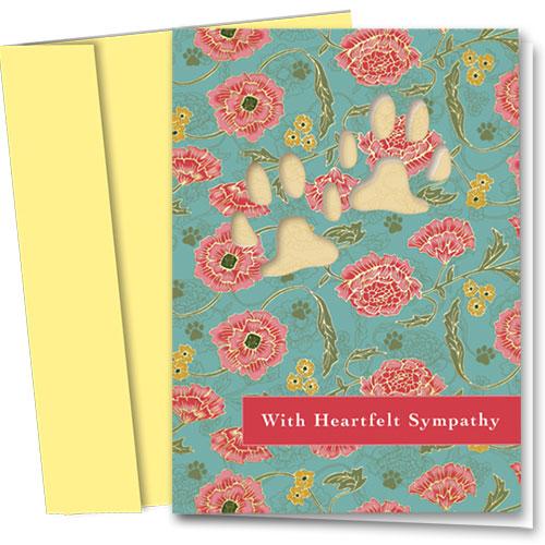 Premium Foil Pet Sympathy Cards - Floral Reflection