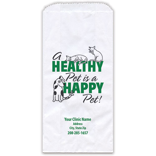 """Personalized Paper Pharmacy Bags - 5"""" x 2 1/2"""" x 10"""" - Bag Design 30"""