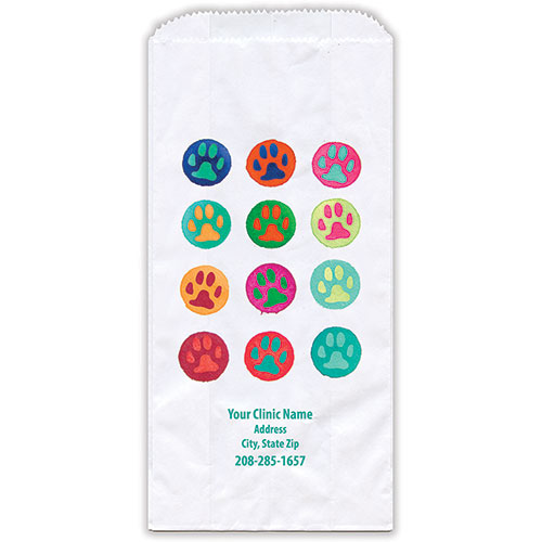"""Personalized Paper Pharmacy Bags - 5"""" x 2 1/2"""" x 10"""" - Bag Design 42"""