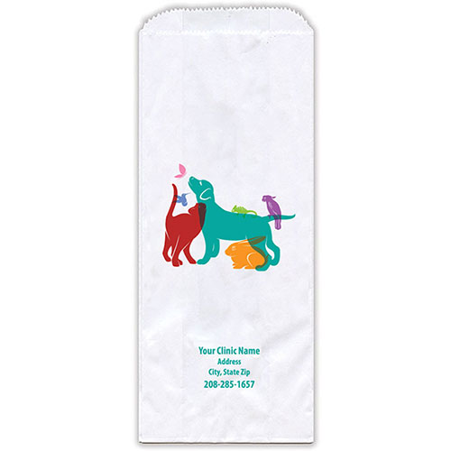 """Personalized Paper Pharmacy Bags - 5"""" x 2"""" x 12"""" - Bag Design 40"""