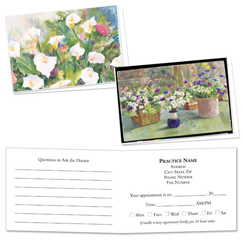 Full-Color Medical Appointment Cards Assortment - Lilies & Daisies