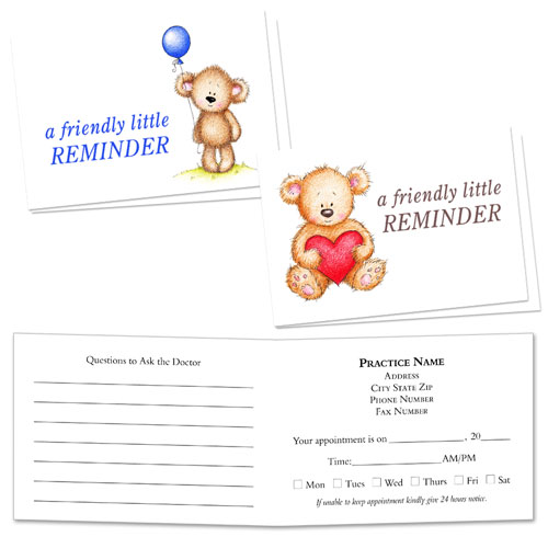 Full-Color Medical Appointment Cards Assortment - Bear Hug Reminder