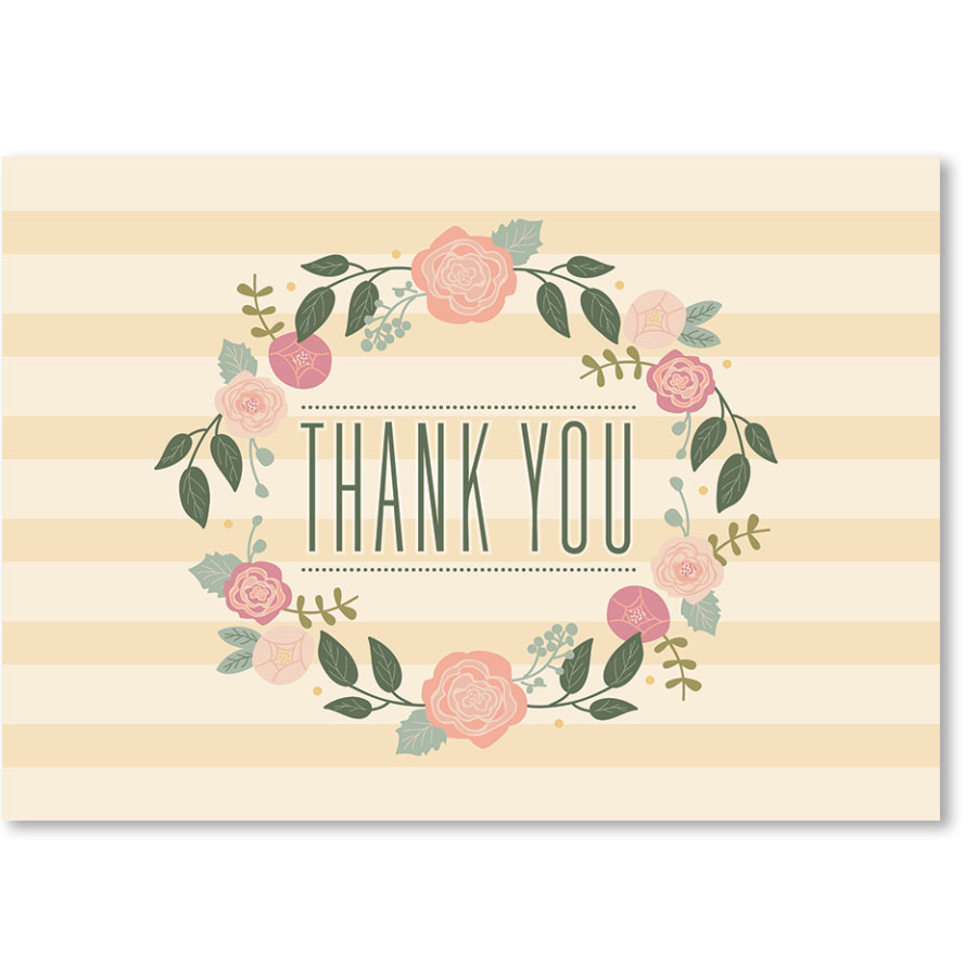 Standard Medical Thank You Postcards - Blooming Garland