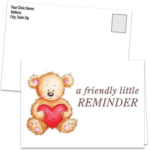Fold-over Medical Postcards - Bear Hug Reminder