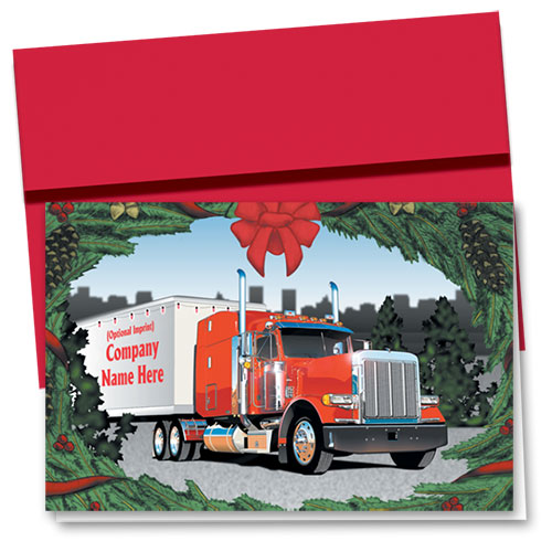 Construction Christmas Cards - Wreath Truck