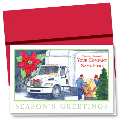 Trucking Christmas Cards - Poinsettia Delivery