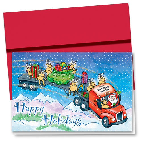 Trucking Christmas Greeting Cards - Mystical Holiday