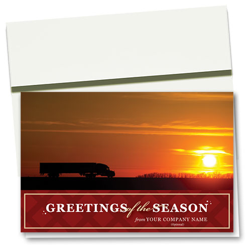 Trucking Christmas Cards - Sunset Truck