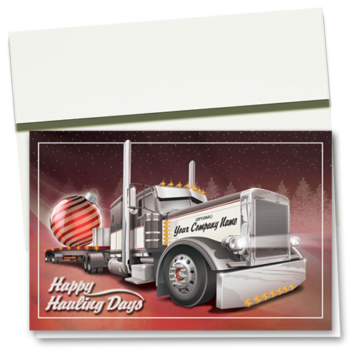 Trucking Christmas Cards - Striped Bulb