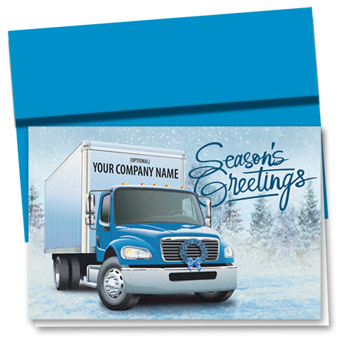 Trucking Christmas Cards - Blue Delivery