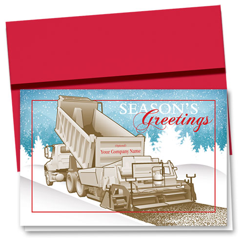 Construction Christmas Cards - Snowy Paver